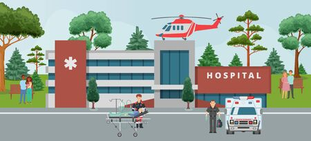 Ambulance, doctors paramedics emergency service with patient disease health care cartoon vector illustration. Medical helicopter on hospital and people doctors staff, healthcare emergence medicine.