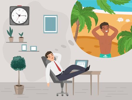 Businessman in office dreaming about vacation on tropical island travel holiday vector illustration. Man dreams on work in office about summer sea vacation tourism. Stock Illustratie