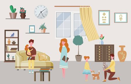 Happy family characters at home interior parents and their children in living room vector illustration. Family characters of father, mother, son and daughters, cats at home, happy people house.