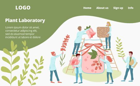 Laboratory medicines from plants and agricultural genetics web template vector illustration. Scientist mini people make herbal medicine from plants. Medics analyzing plants, herbs and flowers webpage. Vettoriali
