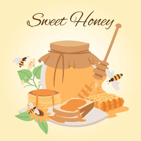 Honey products vector cartoon illustrations. Honey jar, bees, honeycomb pieces and puncakes. Organic and natural honey. Sunflower and bee food. Sweet organic food poster.