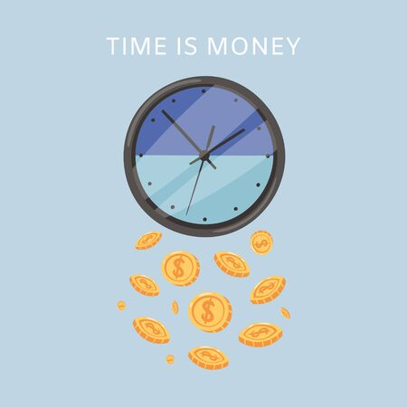 Effective time management, times is money cartoon vector illustration of clock-face and falling golden coins. Time is money, organization and efficiency poster or web banner .