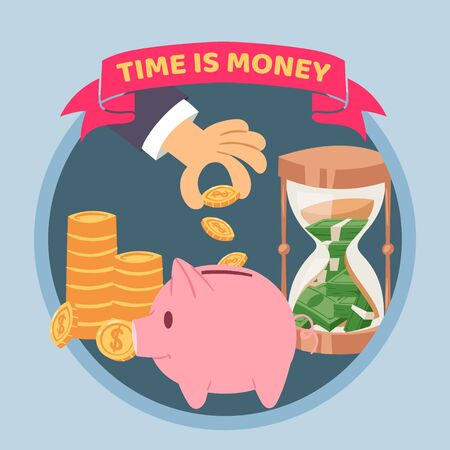 Time is money blue poster, vector illustration. Human hand puts money into piggy bank, golden coins and dollars banqnotes in sand clock in circle. Saving money and time concept with golden coins.