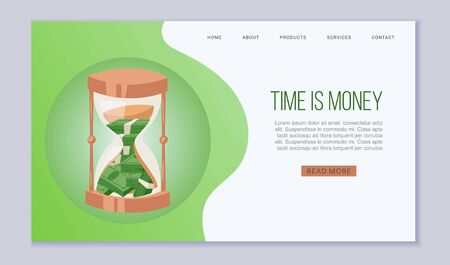 Time is money website vector template. Dollars bank notes in sand clock. Saving money and time concept for landing or web page. Banking service and finance.