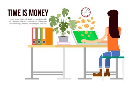 Effective time management, times is money cartoon vector illustration of working woman. Business and management, time is money, organization. Money coins go out of computer with working woman. Zdjęcie Seryjne - 139602977