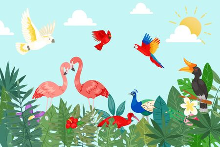 Tropical birds in exotic nature with palm and banana leaves on blue sky backdrop vector illustration. Tropical plants, flowers and birds flamingo, toucan, parrots. Hawaii summer nature poster.