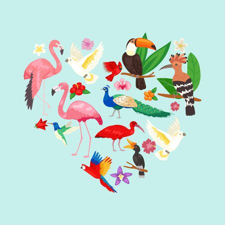 Collection of beautiful exotic tropical birds vector illustration. Macaw, parrot, pink flamingo, toucan, udot and hoopoe in heart shape. Tropical birds on blue background with leaves and flower. Illustration