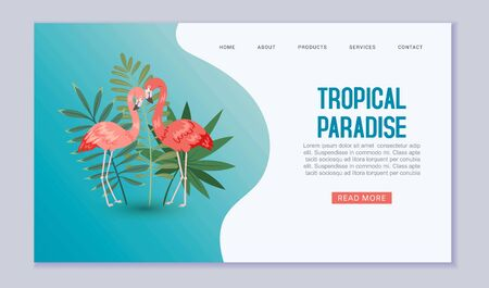 Tropical paradise web banner or vector template illustration. Pink flamigo birds in exotic nature with palm leaves on blue backdrop. Tropical paradise travel and vacation website or landing. 免版税图像 - 139602839