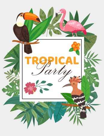 Tropical party poster with birds in exotic hawaii nature, palm and banana leaves vector illustration. Tropical party frame and invitation with plants, flowers and birds flamingo, toucan, hoopoe. 免版税图像 - 139602995