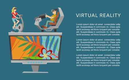 Virtual augmented reality vector illustration. Vr glasses concept with people exercising on gym apparatus, playing games and entertaining. Virtual reality web banner or poster template.