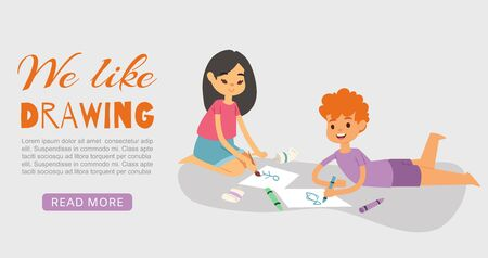 Happy smiling kids drawing, painting and coloring with crayons and brush vector web banner illustration. Boy lying and girl sitting on floor with drawing. Cartoon character kids like to draw pictures.
