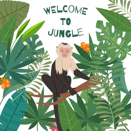 Monkey white headed capuchin in jungles leaves and summer tropical frame vector illustration poster. Welcome to jungle, palm leaves with exotic jungle monkey or ape for summer sale banner or poster.