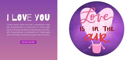 Hot air balloon flying hearts romantic concept web banner, vector illustration. Love is in the air quote for Valentine day or wedding services. Illustration