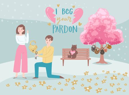 Valentine s Day couple in love, cartoon people characters boy with heart lock begs pardon from girl lovers vector illustration. Valentines day with broken heart and pink blossom tree of love. Ilustração