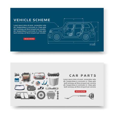 Car spares and auto parts with vehicle scheme vector illustration banners set. Auto diagnostics test service, protection insurance or vehicle electronics parts service shop. Technology auto poster.