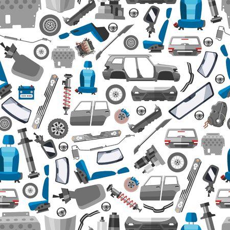 Car spares and auto parts seamless vector pattern. Auto diagnostics test service, protection insurance or vehicle electronics parts service shop. Repair help. Smart technology for auto car background. Vektoros illusztráció