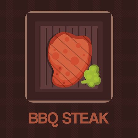 Barbecue grilled bbq steak meat cartoon illustration. Restaurant or barbecue grill house cooking meal symbol. Icon for logo or bbq steak poster. Shef cook and beef dinner. Ilustracja