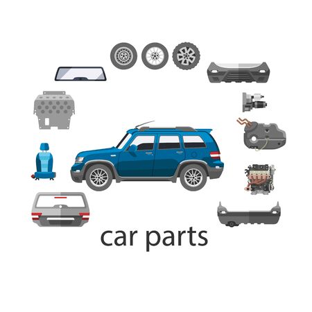 Car spares and parts top view vector illustration isolated on white. Repair help with car parts for auto. Auto diagnostics test service, protection insurance or vehicle electronics parts service shop. Vector Illustration