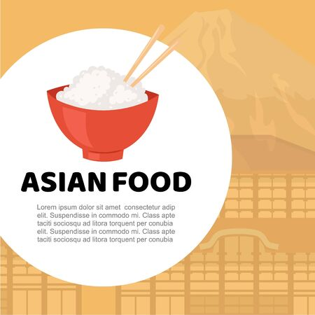 Asian food and chinese, japanese cuisine cartoon vector illustration. Trditional rice and sushi oriental asian food poster with asia cityscape for festival, shop, menu or cafe, restaurant, sticker.