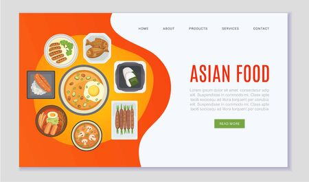 Asian food and chinese, japanese cuisine web vector template. Cartoon illustration of rice, soup, fish and sushi, oriental asian food website for festival, shop, menu or cafe, restaurant webpage.