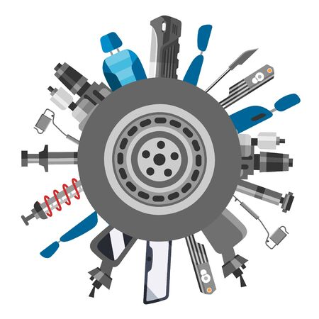Car spares and auto parts vector illustration. Auto diagnostics test service, protection insurance or vehicle electronics parts service shop. Repair help. Modern smart technology for auto cars poster.