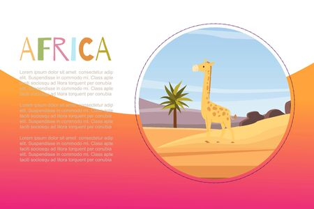 Africa with cartoon flat african animal giraffe vector illustration banner for kids. African fairy childish landscape and typography for kindergarten.