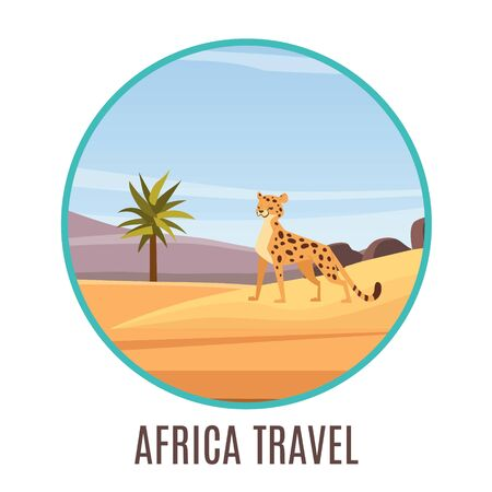 Africa travel badge with cartoon african landscape and gepard vector illustration for kids. Egypt travel services for families with children. Animation and games in hotel.