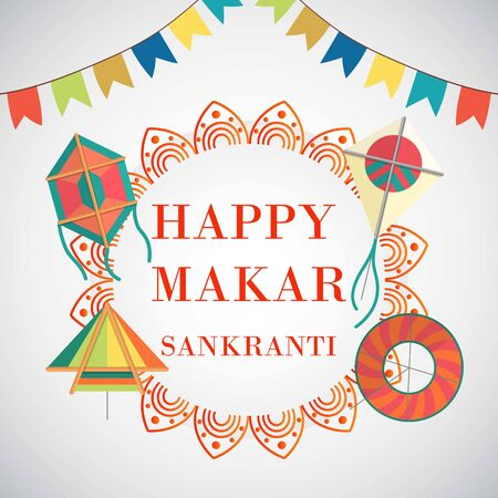 Celebrate happy Makar Sankranti in India background with colorful kites and flags vector illustration. Indian festival poster for makar sankranti holiday celebration. All forms and sizes sky kites.