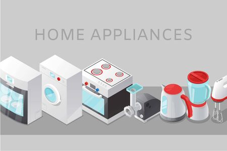 Home appliance electronics sale with isometric stove, wa hine maschine, kettle and mixer poster vector illustration. Electronics discount offer banner.