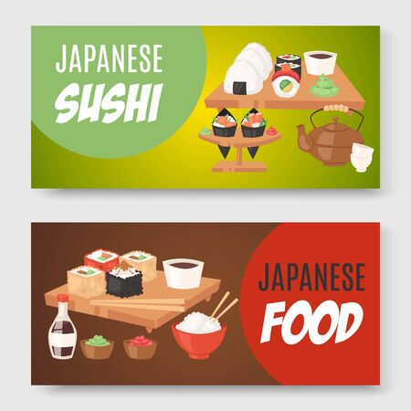 Asian food japanese cuisine with sushi set banners cartoon vector illustration. Sushi, sashimi and rolls on wooden plate with green tea for japanese meal menu or advertisement banners. Stockfoto - 139886238
