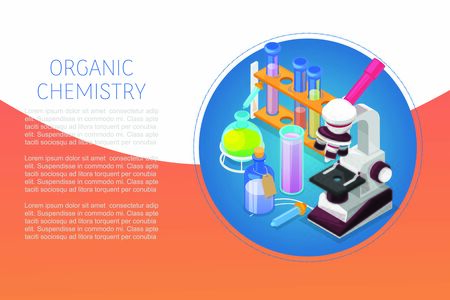 Organic chemestry education and science concept with glass flasks, reagents and microscope vector illustration. Biology, genetics and organic chemistry. Science of life and origin of species.