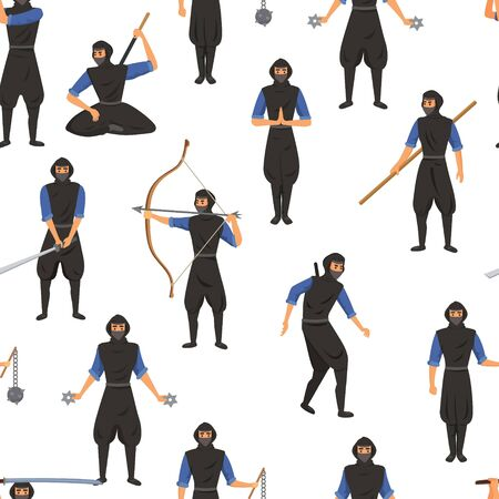 Ninja assassin movement and fighting skills with Japanese weapon to attack vector seamless pattern illustration. Ninja warriors with weapon isolated on white background. Vektorové ilustrace