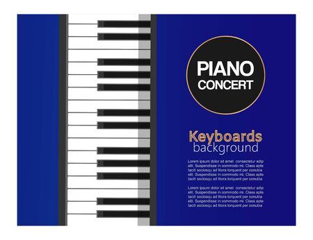 Piano classic music concert, live classical or jazz music with piano keyboard vector illustration poster. Black and white piano keyboard for musician concert poster.
