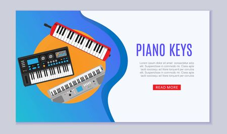 Keyboard musical instruments shop with electronic synthetiser, piano keys studio acoustic musician equipment web banner vector illustration. Musical keyboard instruments store webpage. Ilustração