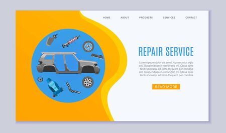 Car repair service banner with auto parts, wheels, brakes and auto carcass web banner vector illustration. Auto diagnostics test service, protection insurance shop. Repair help for auto car service banner.