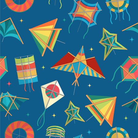 Paper kites of different shapes fly on blue sky vector seamless pattern illustration. Kids kites for festival party and games backdrop for textile, print.
