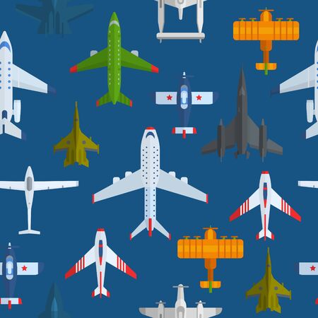 Airplanes seamless vector pattern. Cartoon passenger airplanes and war planes, bombers and aeroplanes background. Can be used for graphic, textile design or web design.
