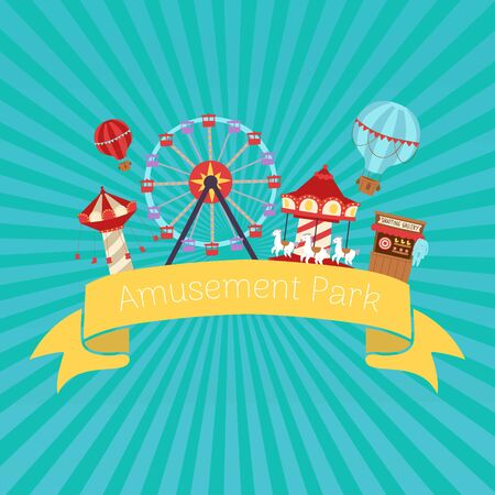 Amusement park retro vector illustration. Flat design conceptual city banners with carousels. Slides and swings, ferris wheel attraction and air baloon cartoon vintage amusement park poster.