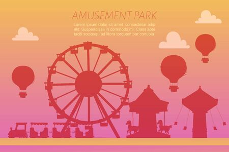 Amusement park silhoettes on gradient background vector illustration. Conceptual city banners with carousels. Slides and swings, ferris wheel attraction and air baloon amusement park gradient poster. Illustration
