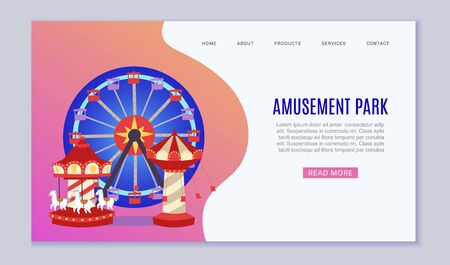 Amusement park web vector template illustration. Flat conceptual city banners with carousels. Slides and swings, ferris wheel attraction and air baloon cartoon amusement park website or landing.