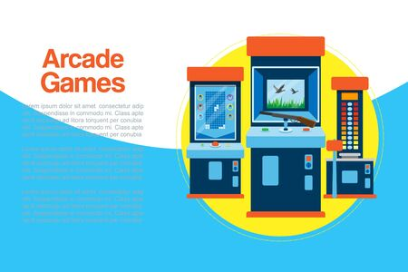 Arcade games machine vector illustration. Arcade gambling games in casino where gamesome gambler or gamer bet in gaming computer machinery illustration for poster or banner. Illusztráció