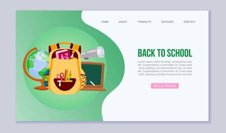 Back to school and education vector web template illustration. Cartoon backpack with books, pen, globe, scissors and chalk board, dictionary. Back to School supplies website or landing. 向量圖像