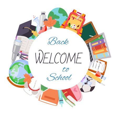 Back to school welcome poster, vector illustration. Cartoon backpack with books, globe and chalk board, football and chemestry supplies. Back to School education objects in circle isolated on white. 向量圖像