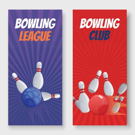 Bowling club and league vector illustration banners set. Balls crashing into the white glossy skittles. Sport bowling theme banners with typography. Bowling game club advertisement. Stock Illustratie
