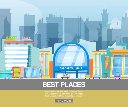 Panorama city building vector illustration. Modern shopping center with city mall emporium, art gallery. Building with shops and parking lot for customer convenience, best city places web banner.