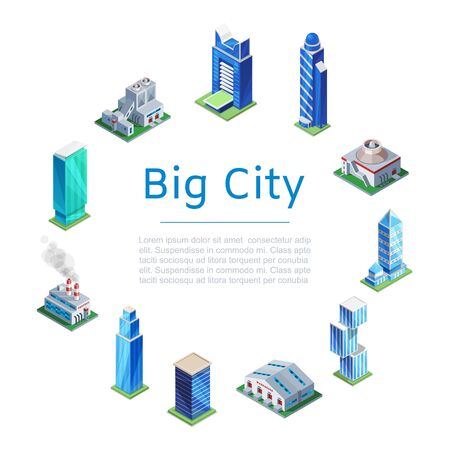 Set of 3d isometric skyscrapers, big city houses and tall buildings icons isolated on white for map building, vector illustration. Real estate concept. Big city poster. Illustration