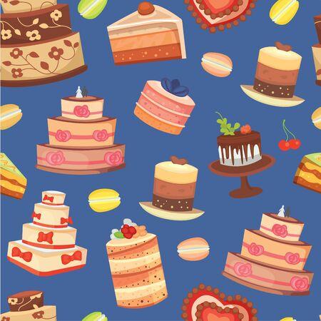 Wedding cakes seamless pattern of sweet baked vector isolated cakes. Strawberry cake for holiday, baked chocolate cake for gourmet, birthday celebration cherry cake bakery with fruit background. Standard-Bild - 140598062