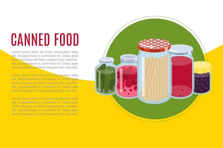 Canned food goods vector illusration banner. Package of various goods canned food glass jars for grocery store and product storage. Canned conserved jams, tomatoes and cucambers. 일러스트