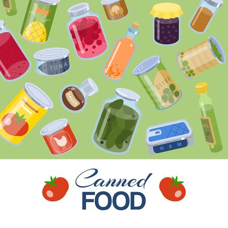 Canned food goods pattern on green background vector illusration poster. Package of various goods tins of canned food and glass jars for grocery store. Canned conserved fruits, meat and vegetables.