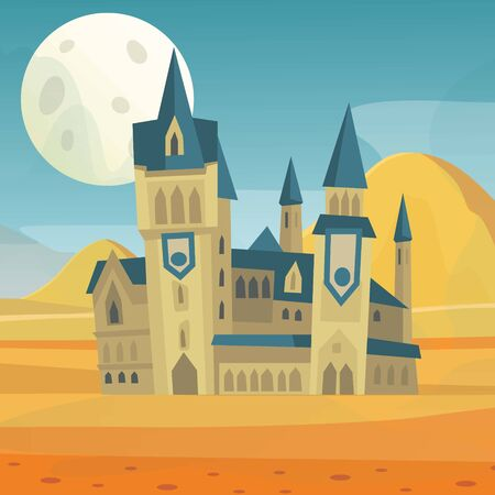 Fantasy fairytale medieval castle in night landscape with big scary moon vector illustration. Cartoon castle for wizards, warlocks or princess in desert landscape. Poster for children books cover.